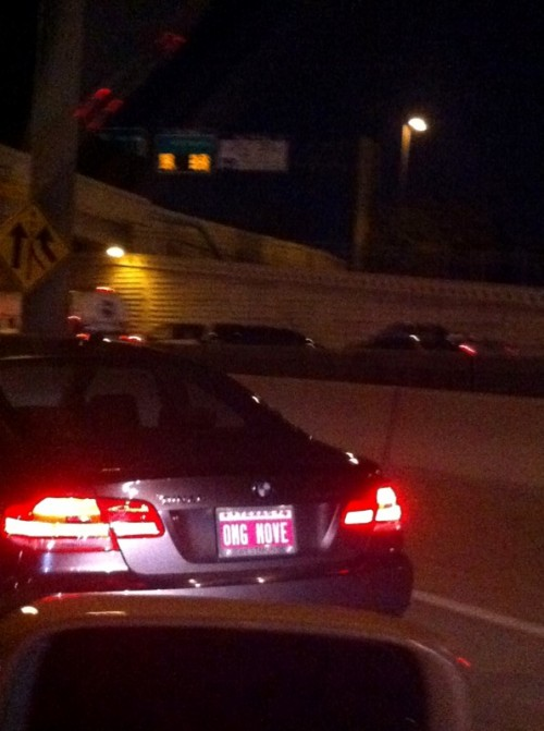 Best license plate ever: OMG MOVE. TSM.