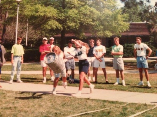 Flashback keg toss Greek Week event. TSM.