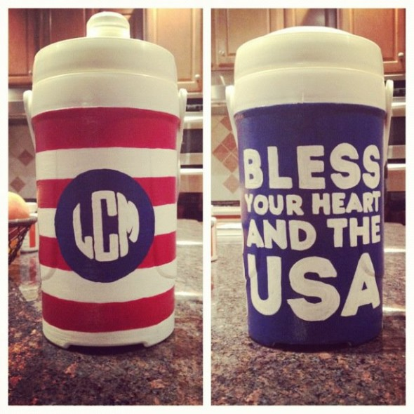 First cooler painted for my sister's birthday. Bless your heart and the USA. TSM.