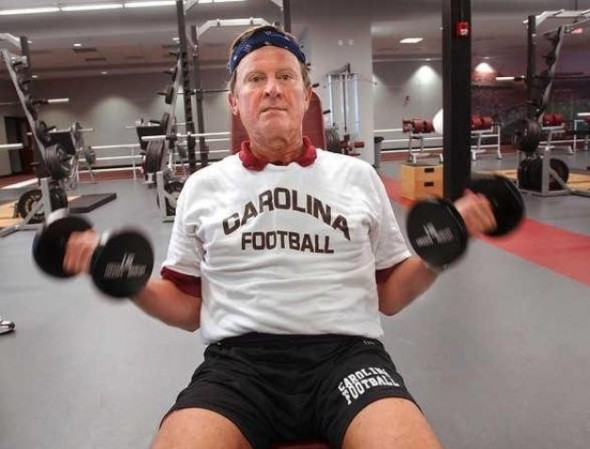 Spurrier only working the beach muscles. TFM.