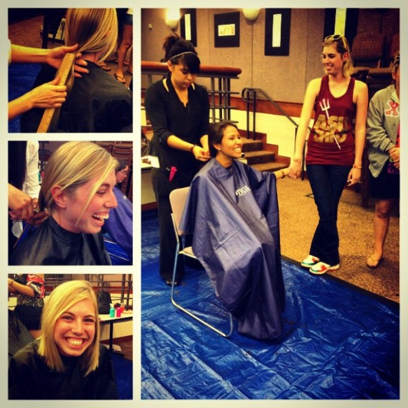 Cutting your hair for Locks of Love with your sisters. TSM.