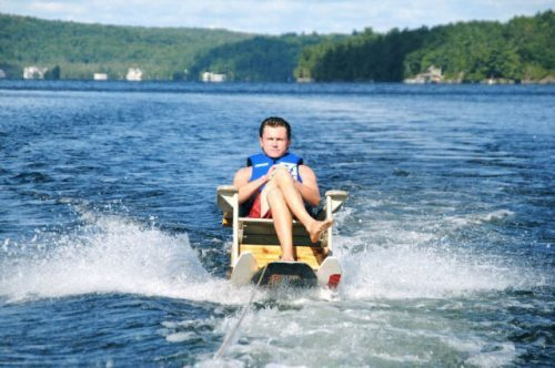 Frat dad relaxing on the lake. TFM.
