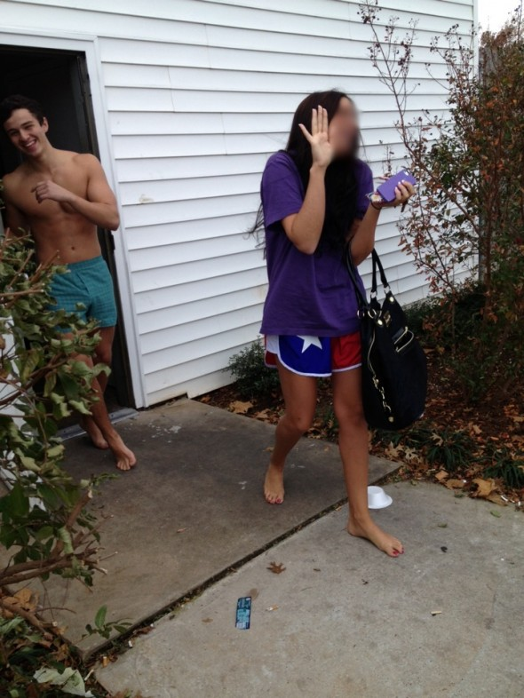 Shacker caught in the walk of shame at OU's Sigma Chi. TFM.