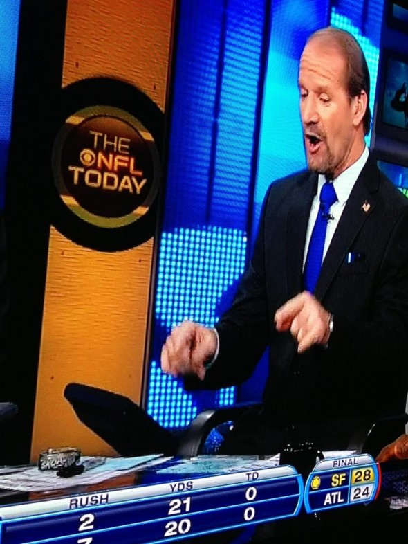 Bill Cowher keeping his can on set. TFM.