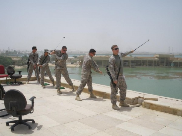 Teeing off of Saddam's roof. TFM.