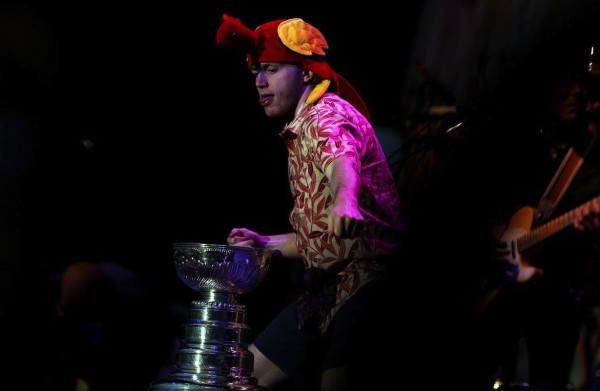 Patrick Kane dancing with the Cup at a Jimmy Buffett concert. TFM.