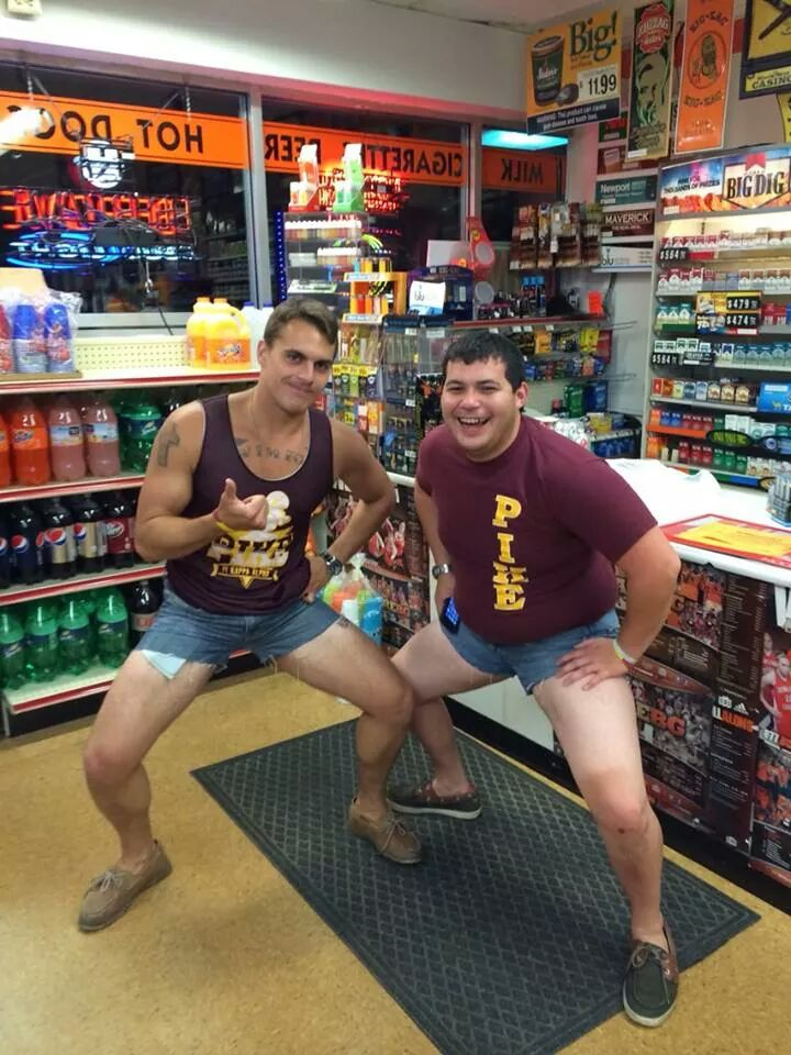 Because they needed a photo to commemorate the time they hit the gas station in jorts.