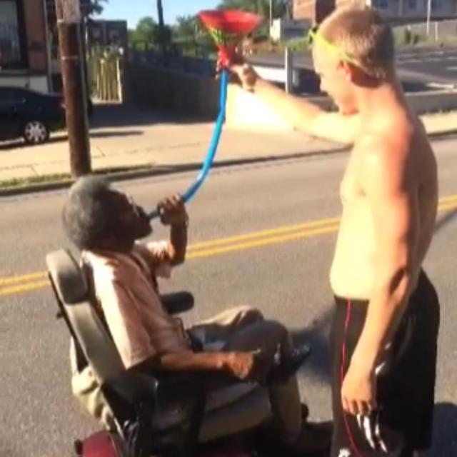 Giving out free beer bongs to the handicapped. TFM.
