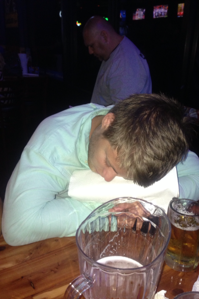 Sleeping at the bar is one of the most pathetic things you can do.