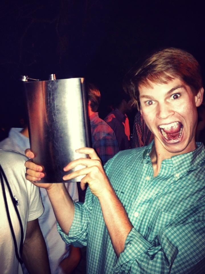 He's really excited about that gigantic flask.