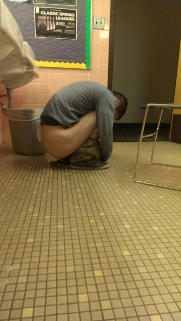 Shitting on the floor in the fetal position. TFM.